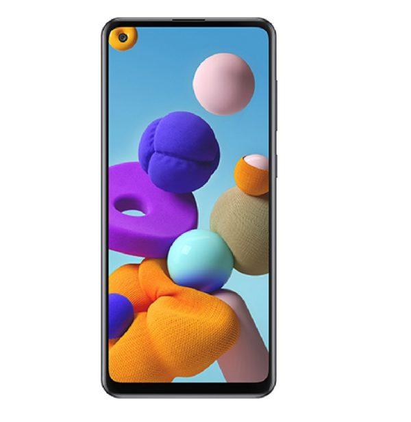 Samsung Galaxy A21s baksida svart